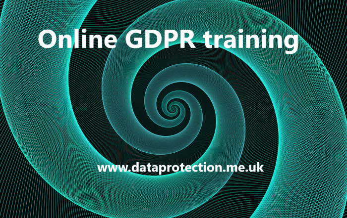 "Green spiral with the words ""Online GDPR training"""